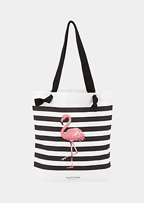 Canvas shopper with a flamingo print from comma