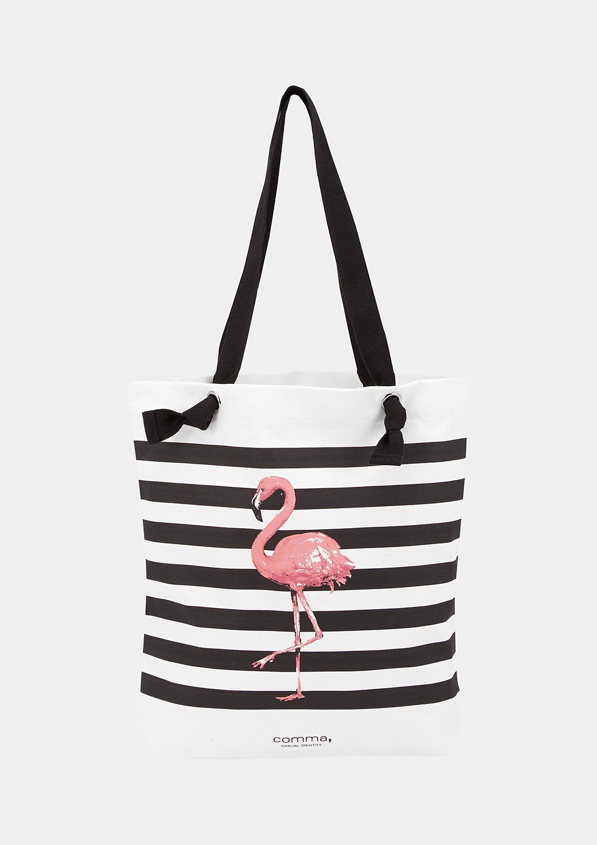 Shopper aus Segeltuch mit Flamingo-Print