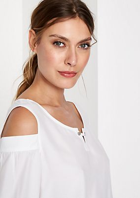 Short sleeve blouse with decorative cut-outs from comma