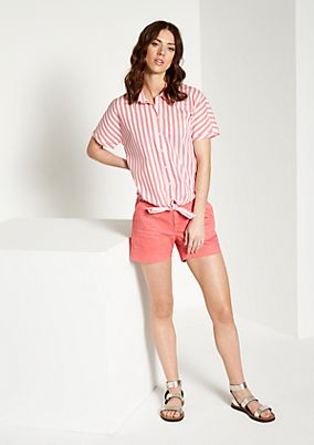 Elegant short sleeve blouse with a vertical stripe pattern from comma