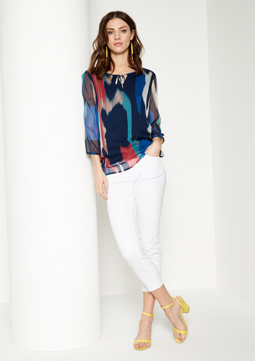 Delicate chiffon blouse with a sophisticated all-over pattern from comma
