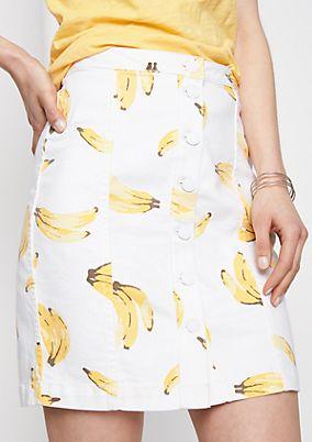 Kurzer Jeansrock mit Bananen-Alloverprint