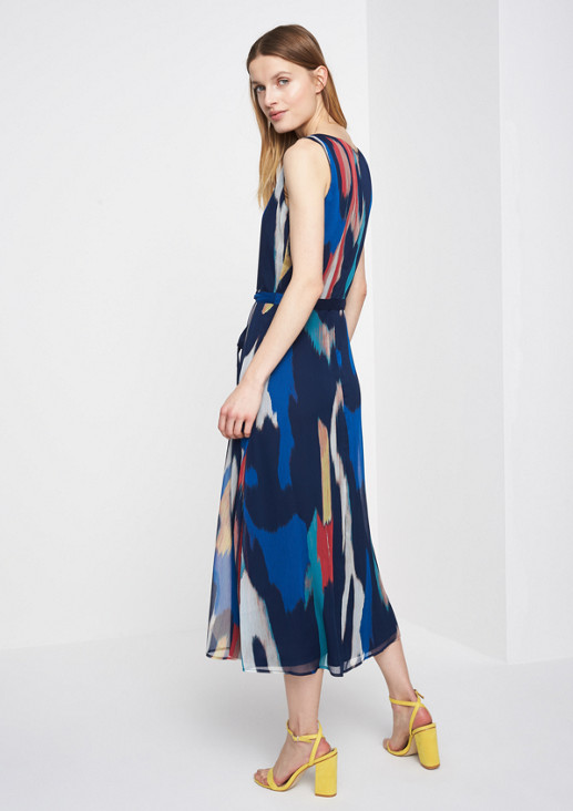 Chiffon maxi dress with a colourful all-over pattern from comma