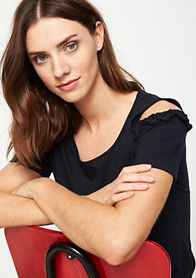 Jerseyshirt mit Rüschenverzierungen
