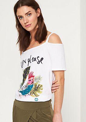 Schulterfreies Jerseyshirt mit Frontprint