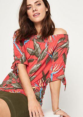 Jersey-Kurzarmshirt mit farbenprächtigem Allovermuster