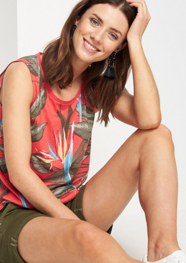 Patterned jersey top with gathering from comma