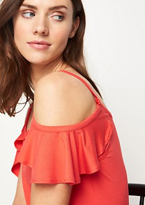 Jersey top with flounce sleeves from comma