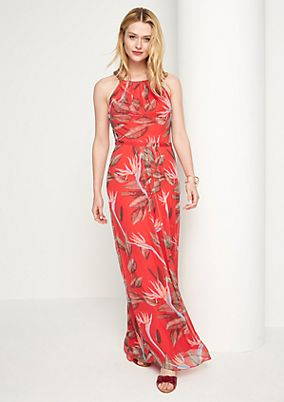 Chiffon maxi-dress with an all-over print from comma