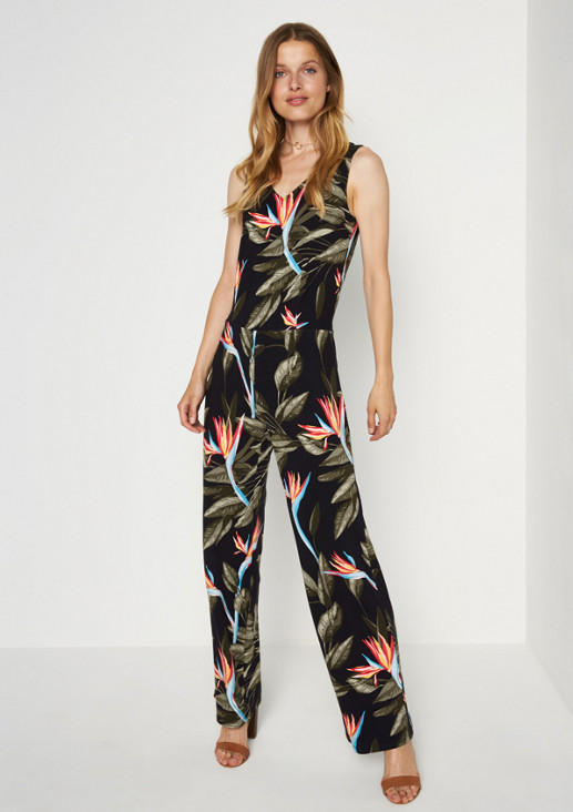 Jersey-Jumpsuit mit aufregendem Alloverprint