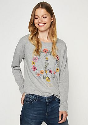 Long sleeve sweatshirt with a statement print from comma