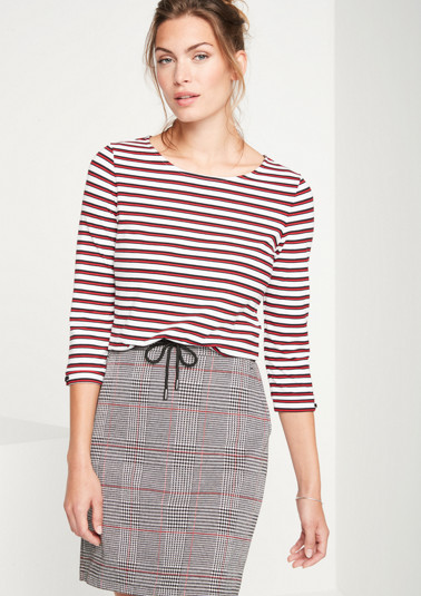 Jersey T-shirt with 3/4-length sleeves in a sporty stripe look from comma