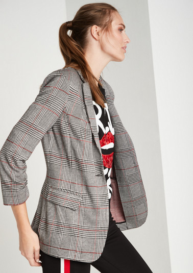 Soft business blazer with a Prince of Wales pattern from comma