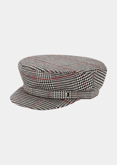 Cap with a Prince of Wales check pattern from comma