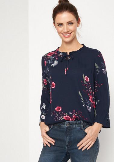 3/4-Arm Bluse mit farbenprächtigem Floralmuster