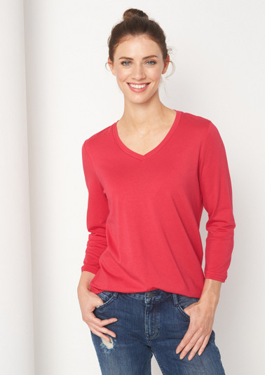 Jersey top with 3/4-length sleeves from comma