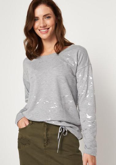 Lässiges Sweatshirt mit silbrig glänzenden Vogelprints