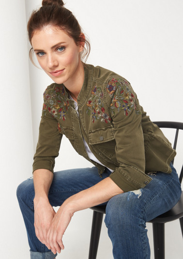 Casual jacket with floral embroidery from comma