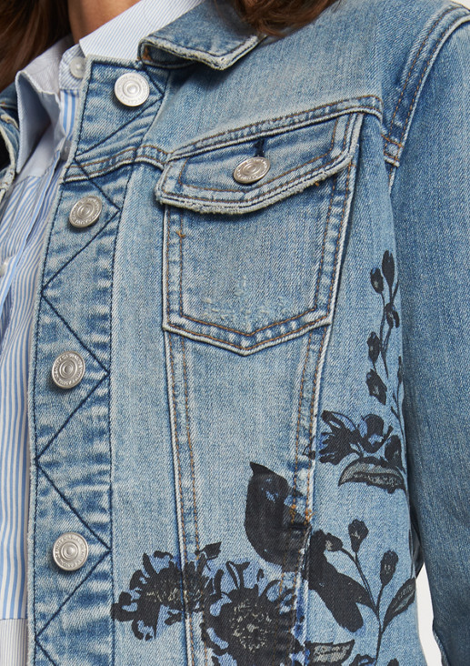 Denim jacket in a vintage look with a floral print from comma