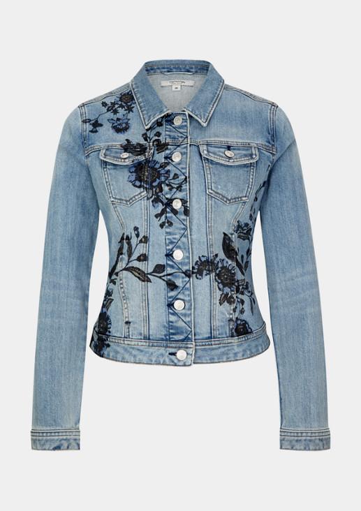 Jeansjacke im Used-Look mit Floralprint
