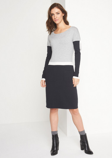 Fine knit dress with patch pockets from comma