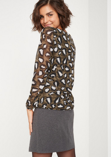 Chiffon blouse with an exciting all-over leopard print from comma