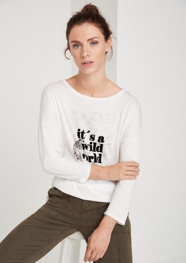 3/4-Arm Jerseyshirt mit Statement-Print