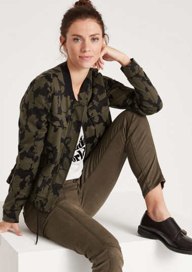 Casual bomber jacket with a camouflage pattern from comma