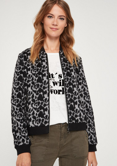 Bomber jacket with a leopard print pattern from comma