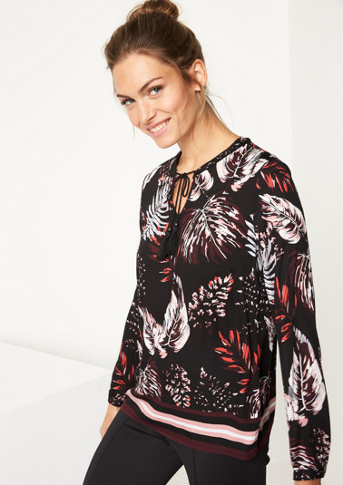 Satin blouse with a colourful all-over pattern from comma