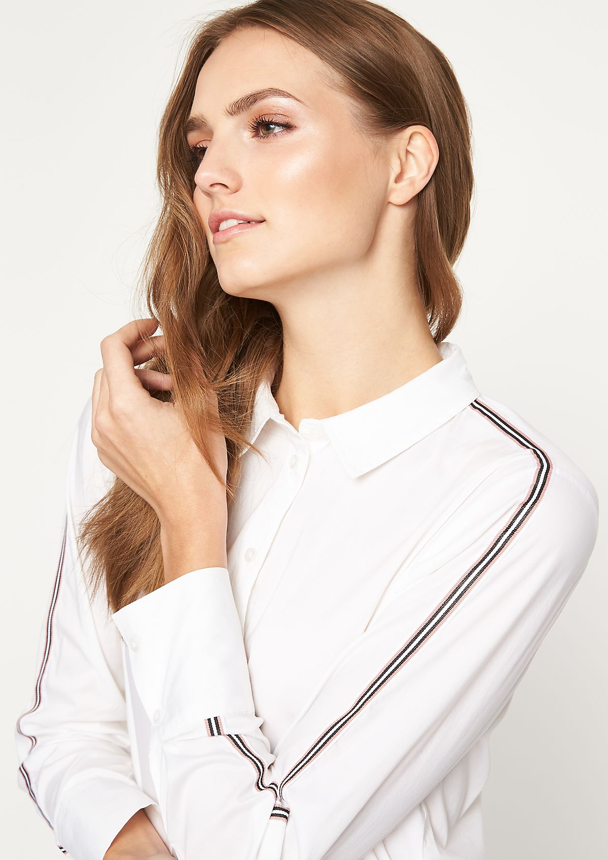 Elegant business blouse with decorative stripes from comma