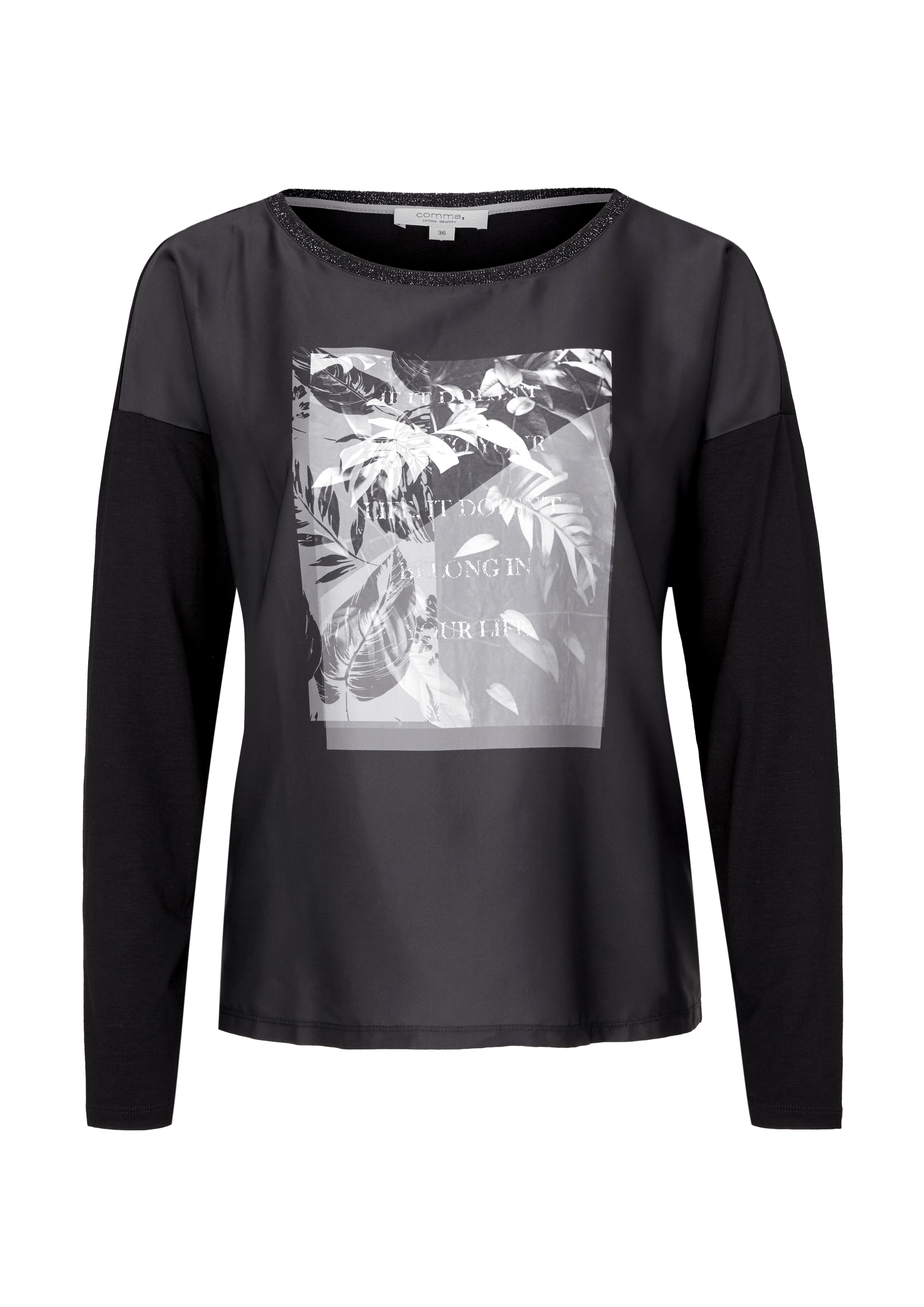 Langarmshirt | Bekleidung > Shirts | Grau/schwarz | 98% polyester -  2% elasthan | comma