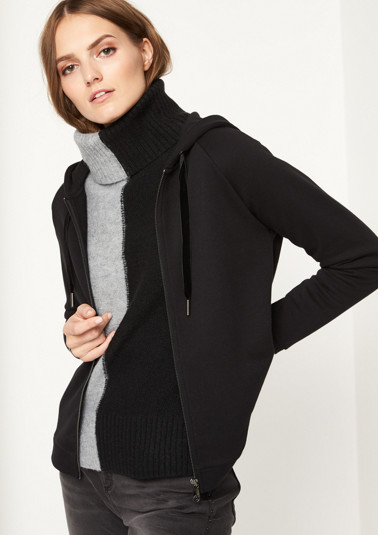 Casual sweatshirt jacket with a hood from comma