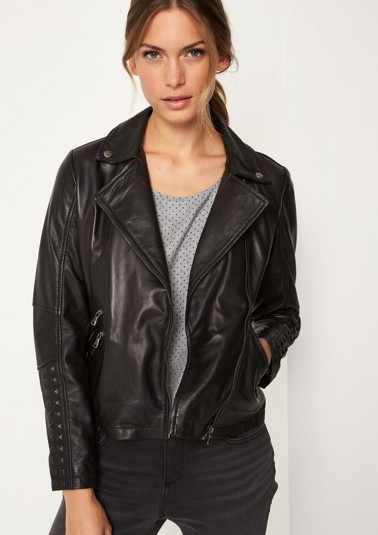 Leather biker jacket in a rocker style from comma
