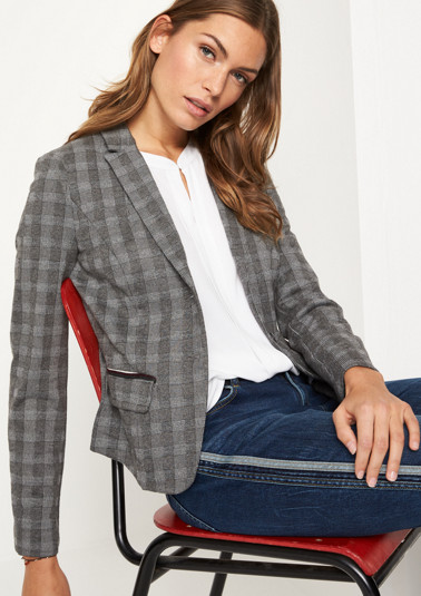 Business blazer with a classic Prince of Wales check pattern from comma