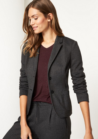 Business blazer with a fine herringbone pattern from comma