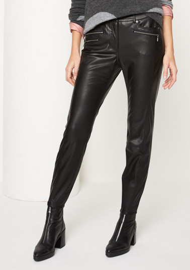 Casual faux leather trousers from comma