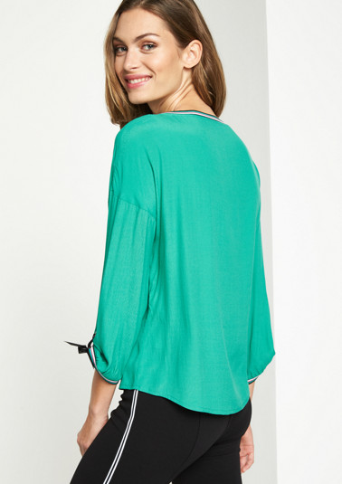 3/4-sleeve crêpe blouse with ties from comma