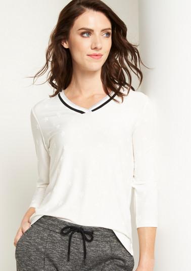 T-shirt en jersey à manches 3/4 et à motif jacquard de Comma
