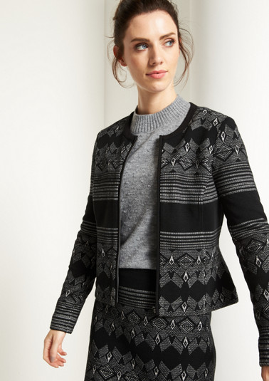 Casual blazer with a decorative mixed pattern from comma