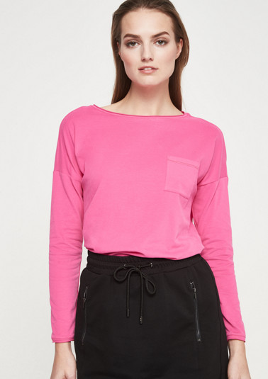 Long sleeve jersey top with breast pocket from comma