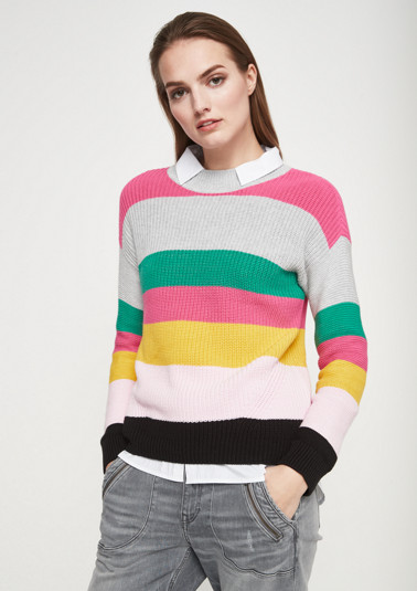 Chunky knit jumper with striped pattern from comma