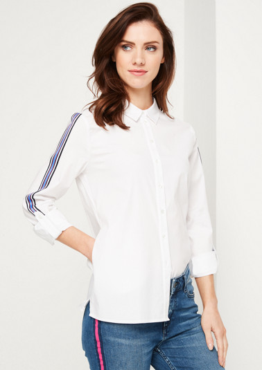 Elegant poplin business blouse with decorative stripes from comma