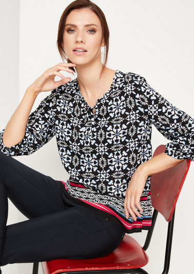 3/4-Arm Bluse mit Grafik-Alloverprint