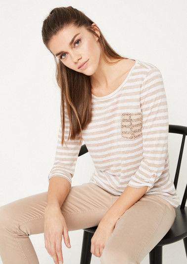 3/4-sleeve knit top with stripes from comma