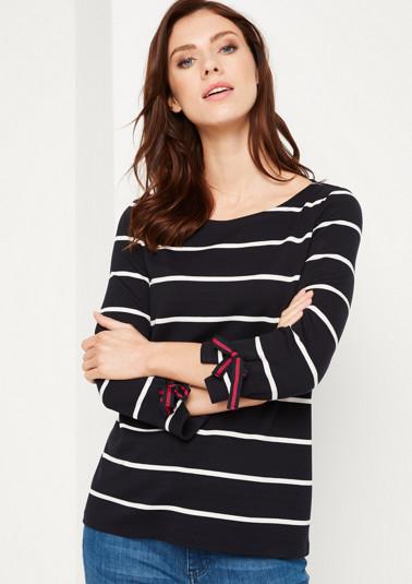 3/4-Arm Shirt mit sportlichem Streifenmuster