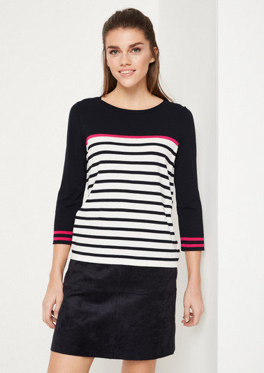 3/4-sleeve knit jumper with striped pattern from comma