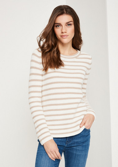 Knit jumper in a ribbed look with a striped pattern from comma