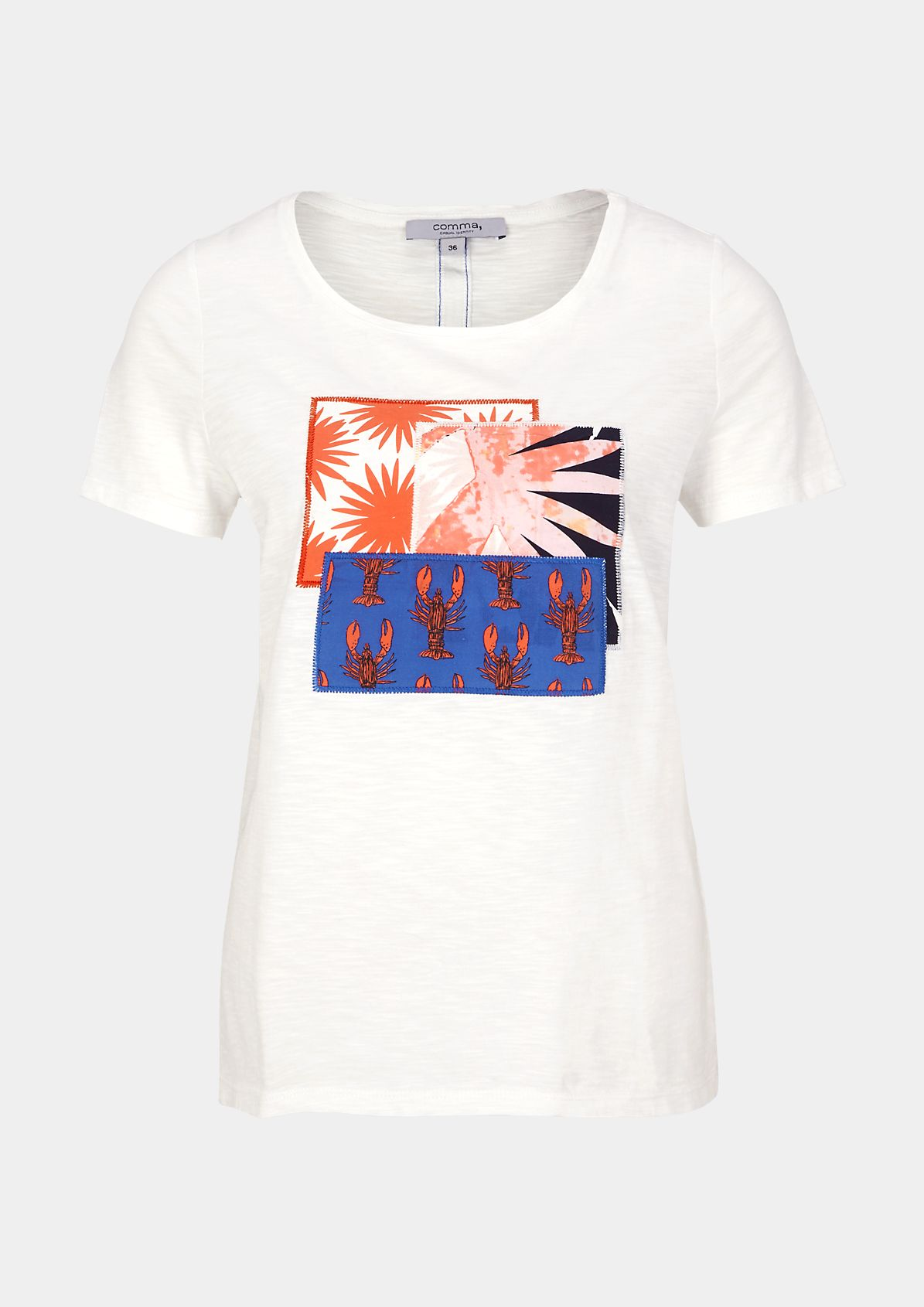 Short sleeve T-shirt with geometric and statement prints from comma
