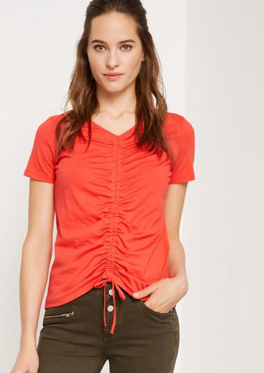 Kurzarm-Jerseyshirt mit dekorativen Raffungen